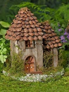 Fairy house roof tiles pine cone scales plates